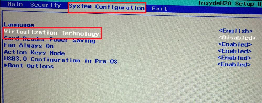 BIOS-nastroika VMware